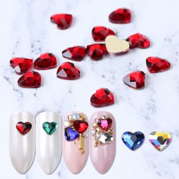 heart crystals NZ - 10pcs Flatback Colorful Heart Nail Rhinestones For Nails Art Decorations Crystal Glass Stone Manicure 3D Shiny Strass Gem JI991