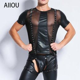 b6970e90 AIIOU Sexy Mens Undershirts Mesh Transparent Stitching Erotic Faux Leather Gay  Shirts Funny Fitness Undershirts Club Dance Wear