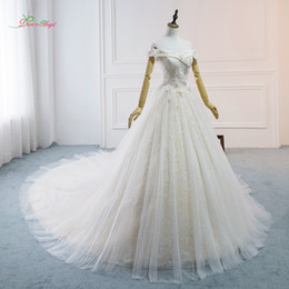 vintage model boats NZ - wholesale Sexy Boat Neck Lace Ball Gown Wedding Dresses 2019 Flowers Beaded Chapel Train Vintage Bride Gwon Vestido De Noiva