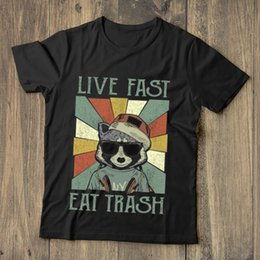 Cotton Suppliers NZ - Bear Live Fast Eat Trash Vintage T Shirt Black Cotton Men S-6XL US Supplier Men Women Unisex Fashion tshirt Free Shipping