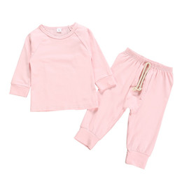 Infant tshIrts online shopping - Autumn Spring INS Newest Infant Toddler Baby Kids Boyls Girls Clothing Suits Blank Knitted Cotton Tshirts with Straps Pants pieces Suits
