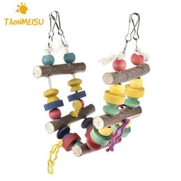 chew beads wholesale NZ - Bird Swing Parrot Supplies Climbing Ladders Ladder Swings Chew Toy Wooden Bead Ladder Randomly Color Newest