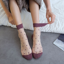 $enCountryForm.capitalKeyWord Australia - Xia Chaobo Ma'am Cathy Boat high quality new fashion wearproof wholesale comfortable Candy Color Glass Fiber Mesh Women Round Point Socks