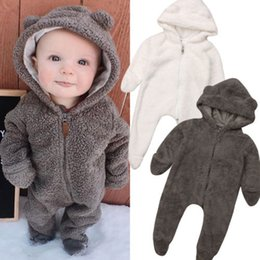 Wholesale New Baby Baby Girl Boy Bear Rompers Clothes Hooded Romper Jumpsuit Outfit M