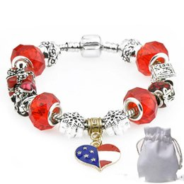 Bead Girl Boy Australia - Golden Heart Pendants Charm Bracelets Fit Pandora Boy Girl Red Crystal Glass Beads Snowflake Santa Claus Silver Jewelry Christmas