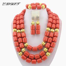 Coral Bride Beads Australia - Classic Nigerian Wedding bride jewelry African Coral Beads Jewelry Set Costume Jewelry Sets dubai women necklace set L1012