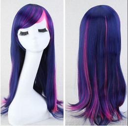 HealtHy wigs online shopping - WIG Women Purple MIxed Long Hair Cosplay Costume Healthy Curly Hair Wig