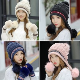 beanies for girls Australia - 2019 Women's Fashion Winter Beanie Hats & Gloves Ear Muffs Casual Beret Knitted Beanies Caps Gorros Black Hats for Women Girls