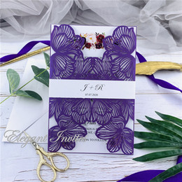 $enCountryForm.capitalKeyWord Australia - Plum Exquisite Iridescent Pearl Paper Wedding Invitation Card Leaves Pattern Hollow Out Carved Crafts Card for Wedding Party free shipping