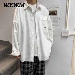 oversized shirts men Australia - WYWM Men 100% Cotton Spring Shirts Summer Oversized Full Sleeve Letter Embroidery Button Streetwear Soft Casual Pocket Clothes