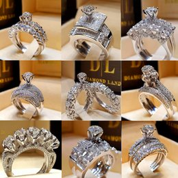 IndIan dIamond rIng settIngs online shopping - Cute Female Crystal White Round Ring Set Brand Luxury Promise Silver Engagement Ring Vintage Bridal Wedding Rings For Women