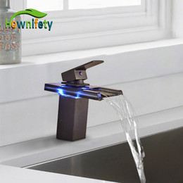 Wholesale ORB with LED Glass Basin Faucet Deck Mount Bathroom Sink Hot Cold Mixer Tap Single Hole Single Handle