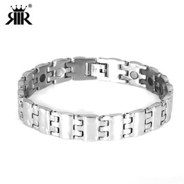 cool wrist bracelets UK - Stainless Steel Wrist Accessories Cool Punk Men Bracelets Europe And America Fashion Titanium Steel Watch-buttom Silver Bracelet