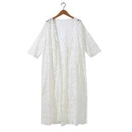 Chinese  2019 New Summer 3 4 Sleeves Sheer Open Front Maxi Cardigan Solid Color Crochet Floral Lace Swimsuit Cover Up Sunscreen Shirt manufacturers