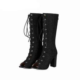 c4bb43798 2019 новинка женские сапоги черный размер 34-43 на шнуровке Peep Toe блеск  высокие каблуки ботинки мотоцикла летние сапоги