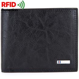 Rfid Print Australia - Fashion Antitheft Men Vintage Credit Card Holder Blocking Rfid Wallet Leather Unisex Security Information Aluminum Metal Purse #302618