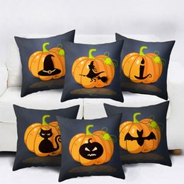 Discount car seat cushions purple - Halloween Decor Cushion Cover Yellow Pumpkin Lantern Painting Pillow Cover Super Soft Velvet Sofa Seat Car Pillowcase 45