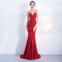 Red Dress V Neck Straps Australia - 2018 Hot Sale New red Mermaid Long Evening Dresses Sequins Sexy Slim Deep V-Neck Backless Shiny Criss Cross Straps Formal Evening Dresses