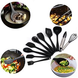 Gadgets Utensils Australia - 10Pcs Set Silicone kitchen Cooking tools sets Scraper Oil brush Egg beater Barbecue clip Spaghetti spoon Utensil Set Kitchenware gadgets