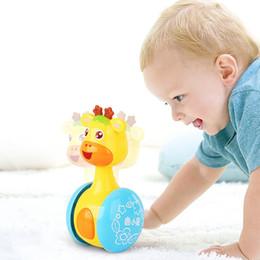Giraffes Toys For Children Australia - Baby Rattles Mobiles Giraffe Tumbler Toddler Toys for Children Kids Handle Educational Musical Dolls Bed Bells Stroller Cartoon