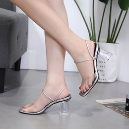 $enCountryForm.capitalKeyWord Australia - Alluring2019 Two Heels Block Clothes Square Toe Crystal Circle High With Sandals One Word Bring Silver