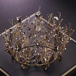 Baroque Retro Black Crystal Round Tiaras Crowns King Queen Pageant Prom  Rhinestone Veil Tiara Headbands Wedding Hair Accessories f55ad4d59465