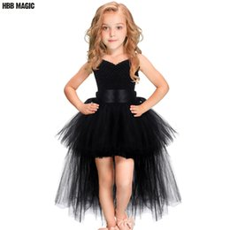 $enCountryForm.capitalKeyWord Australia - Black Girls Tutu Dress Tulle V-neck Train Girl Evening Birthday Party Dresses Kids Girl Ball Gown Dress Halloween Costume 2-7Y