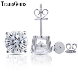 $enCountryForm.capitalKeyWord NZ - Transgems 14k 585 White Gold 2.4ctw 7mm Or 1.6ctw 6mm Gh Color Moissanite Diamond Stud Earrings For Women Party Gift Push Back Y19032201