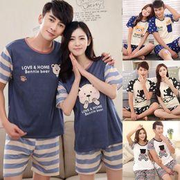 Wholesale men pajamas xl for sale - Group buy Couples Sleepwear Women Men Summer Cartoon Short Sleeve Pullover Pants Pajamas Set Cotton Casual Lounge Wear New M L XL XL