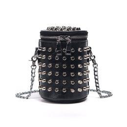 Punk Rock Handbags Australia - Retro European Style Fashion Handbags 2019 High-quality Pu Leather Women Bag Punk Rivet Bucket Shoulder Bag Chain Messenger Bag
