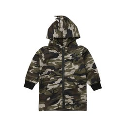 Boys Dinosaur Jacket Australia - Jackets Toddler Kids Baby Boys Camouflage Dinosaur Coat Zippers Long Sleeves Top Hooded Jackets