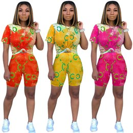$enCountryForm.capitalKeyWord NZ - Tie-Dye Colored Two Piece Shorts Sets Casual Letters Women Tracksuit Short Sleeve T shirt + Shorts Luxury 2 Piece Woman Set Outfits C62408