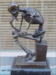 marble carved Australia - Art Bronze sculpture home decora Western Bronze Marble Art Statue Skull human SKELETON THINKER Copper sculpture home decoration