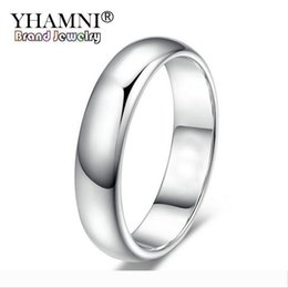 white gold stamps rings NZ - YHAMNI Lose Money Promotion Real Pure White Gold Rings For Women and Men With 18KGP Stamp 5mm Top Quality Gold Color Ring Jewelry BR050