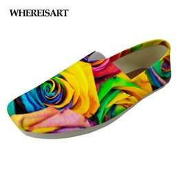 $enCountryForm.capitalKeyWord Australia - WHEREISART Fashion Floral Style Women's Casual Shoes Flats Pretty Flower Rose Prints Women Canvas Breathable Lovers Shoes Woman