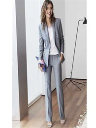 womens formal wear pantsuits Light Grey Women suit Custom Made Business Office Tuxedos Work Wear One Buttons (jacket+pants)