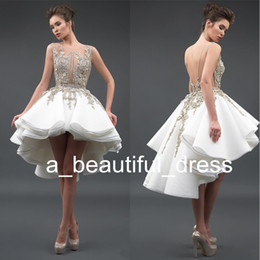 White Cocktail Graduation Dresses Sexy Sheer Neck 3D Lace Appliques Sleeveless Backless High Low A-Line Prom Gowns Vestidos de Festa GD7807 on Sale