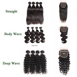 body deep wave closure Canada - 9A Brazilian Virgin Hair Straight Body Wave Bundles With Lace Closure Loose Wave Deep Water Wave Human Hair Weaves With 4X4 Lace Closure
