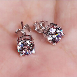 Brincos white gold online shopping - Fashion Crown S925 sterling silver Color diamond Earrings Women Brincos De Prata Men CZ Crystal Jewerly Double Stud Earring mm