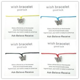 Wholesale 10pcs Mix color Wax Rope Charm Bracelet For Unisex Adjustable bracelet butterfly Wish Card For Mother s Day Gift