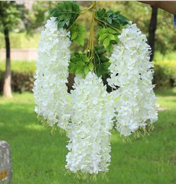 wedding center piece decorations Australia - Wisteria wine Elegant Artificial Silk Flower Wisteria Vine Rattan For Wedding Center pieces Decorations Bouquet Garland