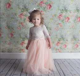 royal blue bridesmaid dresses for children UK - Blush Pink Two Pieces Lace Flower Girl Dresses for Wedding Child Pageant Dress Jewel Neck Tulle Princess Kids Little Girls Junior Bridesmaid