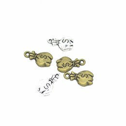 $enCountryForm.capitalKeyWord UK - Bulk 500pcs lot moneybag charms US Dollar pendant 17*11mm antique silver tone & antique bronze tone colors