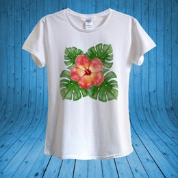 152976696309 White Tropical Flowers NZ - Hibiscus Tropical Flower Summer T-shirt 100%  Cotton unisex