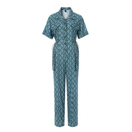 женские комбинезоны оптовых-Women Fashion Seasons Shirts Jumpsuits Plaid Contrast Color High Waist Casual Female Rompers Hot Sell Clothing