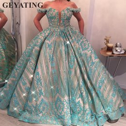 glitter evening gowns Canada - Turquoise Blue Ball Gown Princess Prom Dresses 2019 Glitter Sequins Pageant Gowns for Women Long Formal Evening Dress Elegant