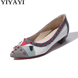 $enCountryForm.capitalKeyWord NZ - Yiyayi Rivet Flat Shoes Women Mixed Color Chaussures Femme Boat Shoes Low Heels Sexy Pointed Toe Vacation Party Casual For Lady