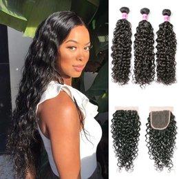 human hair pieces for black women 2019 - Brazilian Virgin Hair Bundles With 4x4 Lace Closures Pre-Plucked Human Hair Weave 3 Bundles With Closure For Black Woman