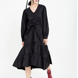 ruffled bottom dresses NZ - Women Elegant Long Party Dress with Ruffles Bottom Pleats Long Sleeves V Neck A Line Charming Lady Long Dresses Mid Calf 2020 Newest