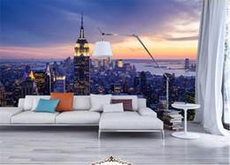 theme wallpaper NZ - Photo Wallpaper Beautiful New York City Night Landscape 3D Mural Living Room Theme Hotel Fashion Decor Wallpaper Papel De Parede